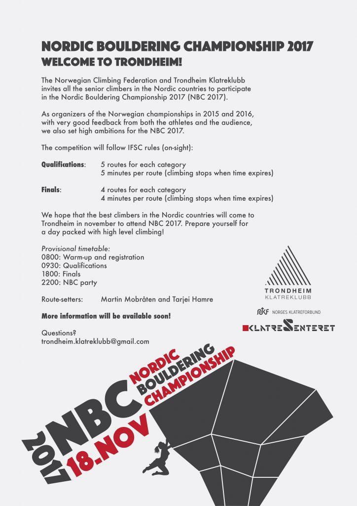 Trondheim klatreklubb arrangerer Nordisk buldring senior 2017