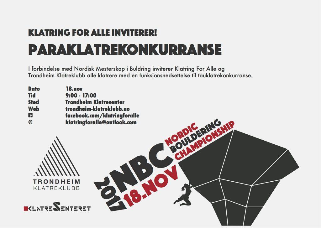 «Klatring for alle» arrangerer Paraklatrekonkurranse i samarbeid med Trondheim klatreklubb